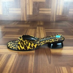 VIA SPIGA Leopard Print Mule Slide Heeled Sandals